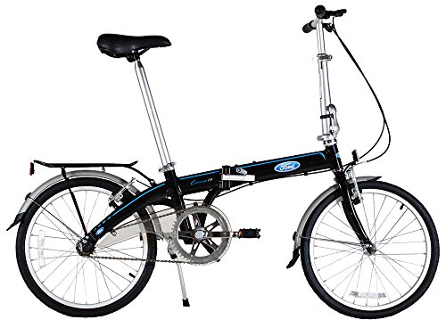 """Ford by Dahon Convertible Single Speed Folding Bicycle, 20""""/38"""", Black"""