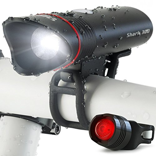 SUPER BRIGHT USB Rechargeable Bike Light- Cycle Torch Shark 300 Bicycle HeadLight- TAIL LIGHT Included- 300 Lumens LED Front Light, Fits ALL Bikes, Quick Release Flashlight Set