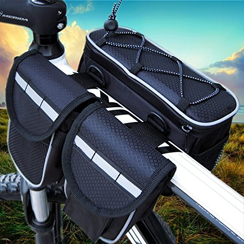 GkGk 4 in 1 Saddle Bike Bag Multi-function Organizer Pannier Top Tube Frame with Rainproof Cover for Mountain Bike Cycling Road Bicycle Seat Packs for Phones ,Bottle of Water ,Keys ,Wallet