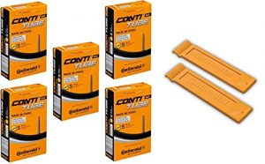 """Continental Race 28"""" 700x20-25c Bicycle Inner Tubes - 60mm Long Presta Valve (Pack of 5 w/ 2 Conti Tire Levers)"""