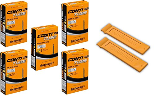 "Continental Race 28"" 700x20-25c Bicycle Inner Tubes - 60mm Long Presta Valve (Pack of 5 w/ 2 Conti Tire Levers)"