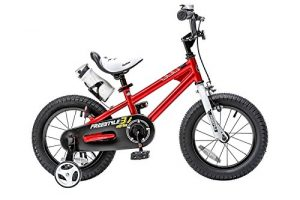RoyalBaby BMX Freestyle Kids Bike, Boy's Bikes and Girl's Bikes with training wheels, Gifts for children, 14 inch wheels, Red